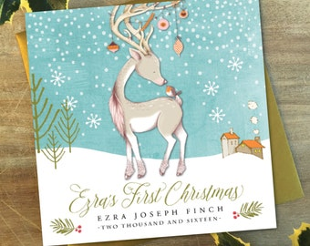 Personalised Baby's First Christmas Card | Baby Deer or Stag