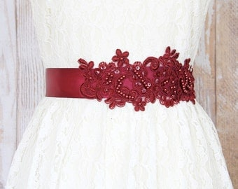 Wine Sequined and Beaded  Lace Sash, Bridal Sash, Bridal Wine Sash, Bridesmaid Sash, Flower Girl Sash