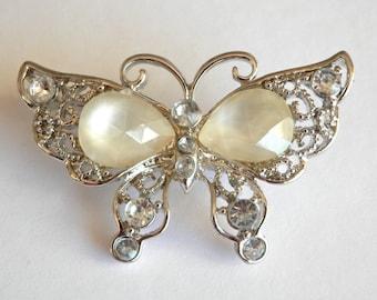Vintage Butterfly Brooch, Gem Stones, Silver Tone Dress Jewellery