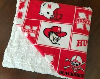 Nebraska Cornhuskers Football Basketball Fan Adult Faux Fur Minky and Fleece Blanket Gift for Husband Dad Son Daughter Wife