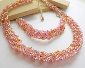 Retro Pastel Pink Amber Clear Glass Bead Braid Choker Necklace Bracelet Set C24