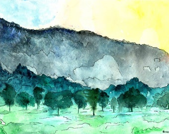 Watercolor Landscape Painting, Fine Art Print, Green and Blue Landscape with Hills, Beautiful Landscape Print Home Decor Ideas