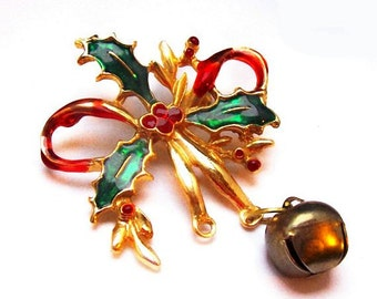 "Holly Leaf Christmas Brooch Red Green Enamel Jingle Bell 3"" Vintage Holidays"