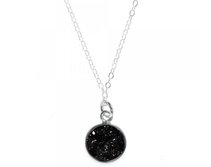 12mm Black Druzy Pendant Necklace