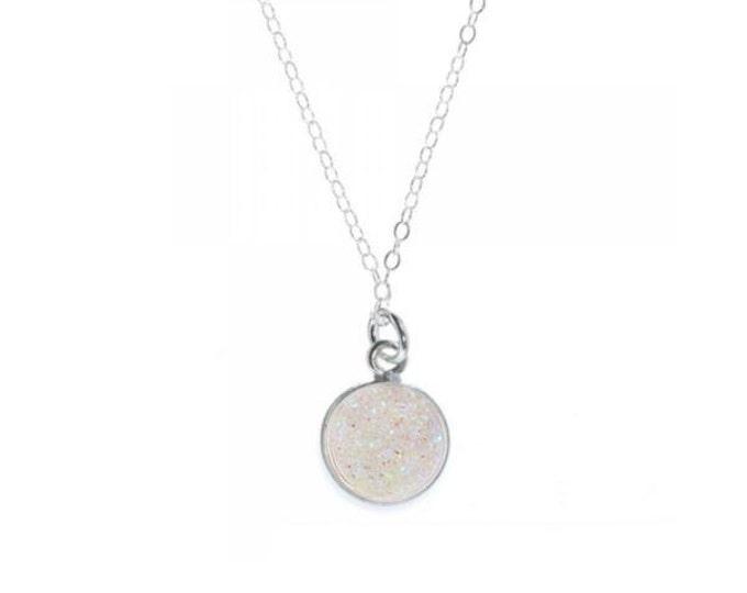12mm White Druzy Pendant Necklace