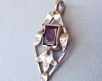 Beautiful Arts and Crafts Era Sterling Silver Pendant with Intaglio Amethyst Colored Cameo