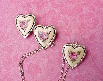 Gorgeous Art Deco Chatelaine Style Brooch-3 Guilloche Enameled Hearts with Pink Roses