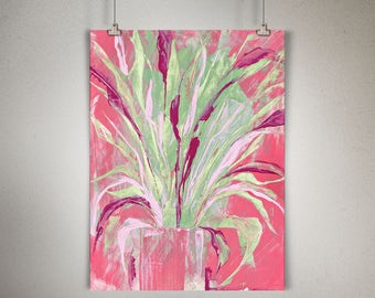 """Plant Study 0008 PAINTING on CANVAS SHEET 12"""" x 16"""", Snake Plant, Sansevieria"""