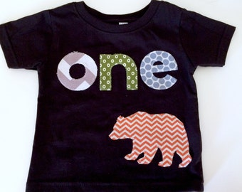 Wild One First Birthday woodland green navy Shirt plaid woodland bear Boys Shirt One