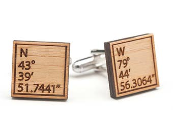 Christmas Gift for Men - Wood Cufflinks - Men 5th Anniversary Gift - GPS Gifts for Men - Latitude Longitude Cufflinks - Eco-Friendly Gift