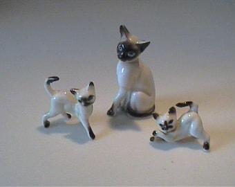 Vintage 1960's miniature bone china family of Siamese kitty cats
