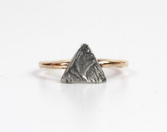 Mountain Ring in Sterling Silver and 14k Gold Fill Ring, Textured Ring, Nature Ring