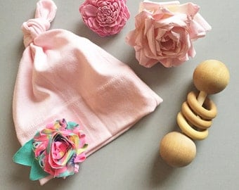 Baby girl knotted flower beanie // Newborn, Infant, Neon, Mint, Pink :B