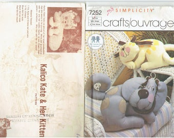 Vintage Craft Patterns Toys Animals Dog Cat Giraffe  Whale Bear Pig Chickens