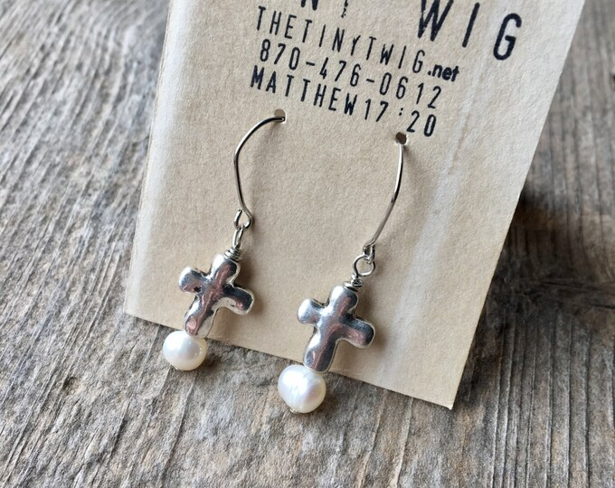 Tiny Cross with Freshwater Pearl Drop Earrings Faith Jewelry