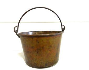 Antique Copper Pail Bucket Wrought Iron Handle