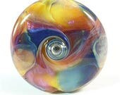 Lampwork Bead Handmade Lentil Shaped Lampwork Focal Purple Pink Blue Apricot Yellow Silver SRA DUST Team LE Team AWHIMteam
