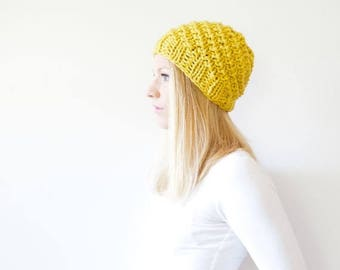 SPRING SALE the ICARD hat - chunky knit hat womens slouchy hat beanie - citron - Limited