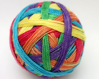 "Self Striping Sock Yarn, Superwash Merino and Silk Fingering Weight, in ""Rainforest Rainbow"""