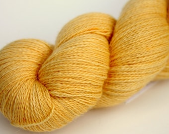 "Kettle Dyed Lace Yarn, Baby Alpaca, Silk, and Cashmere Lace Weight, in ""Buttercup"""