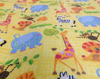 Jungle Baby flannel, yellow flannel,  fabric by the yard, jungle fabric, zoo animals