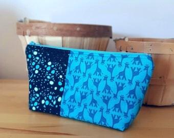 Cosmetic Bag, flat bottom bag, giraffe pattern, turquoise blue, wash bag