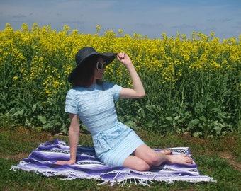 Light Blue Vintage Dress White Lace Ladies Petite or Juniors Girl's Dress Pin Up Retro