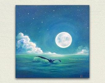 "Whale's Tail, 12""x12"" Original Acrylic painting. Seashell beach home decor nautical, marine life, Ocean sea"