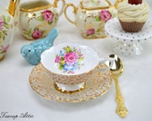 Gorgeous  Gold Teacup and Saucer With Floral Accent, English Bone China Tea Cup And Saucer Set, Replacement China, Tea Party, ca. 1950