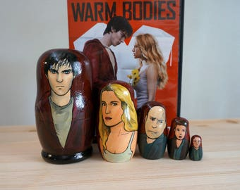 CLEARANCE: Set of Five Warm Bodies Hand Painted Russian Matryoshka Art Nesting Dolls