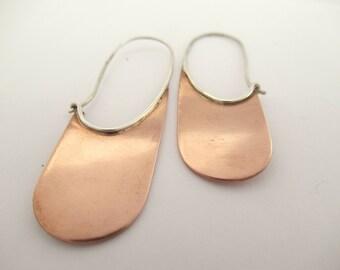 Sterling Silver Dangle Earrings. Mixed Metal Jewelry. Copper Earrings. Minimal Jewelry.