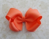 Coral Twisted Boutique Bow - Rich Peachy Coral Grosgrain Ribbon Bow - Coral4 inch Bow - Baby Hairbow - Girls Hairbow