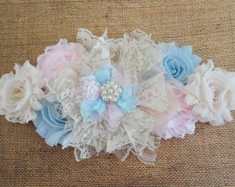 Gender Reveal Maternity Sash, Pink, Blue, & Ivory Creme Twin Maternity Sash, Lace Flower Sash,  Pregnancy Sash, Belly Sash, Maternity  Prop