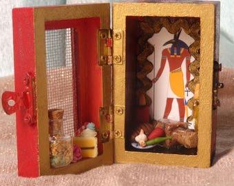 Set Mini Box Shrine. Miniature Nicho.  Travel Altar. Seth. Shadow Box. Mixed Media Altered Art.
