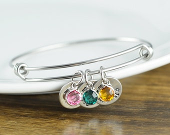Personalized Bracelet - Kids Names Bangle - Birthstone Jewelry - Bangle Bracelet, Hand Stamped Jewelry, Charm Bracelet, Mom Bracelet