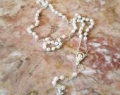 Baptism White Rosary beads, Communion Rosary beads, Baby Rosary, Baptism gift, Catholic Ceremony,Vintage Rosary white beads