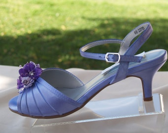 "Purple Wedding Shoes low 2"" heel flowers crystals,Short Heel,Bling, Old Hollywood shoes, Open toe Sandals, Bridal ShoesComfort padded"