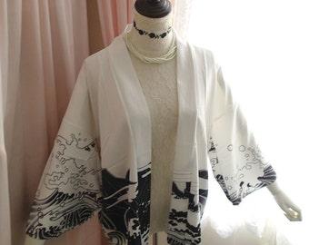 Japanese Style Sea Wave Dragon Kimono Jacket White Chic Top Blouse Robe Goth Gothic