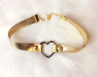 Statement Necklace Choker Gold Vegan Leather Heart Rivet Handmade Punk Rock , goth gothic Lolita cute steampunk