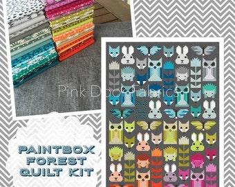 PRESALE - Fancy Forest - Fancy Forest Quilt Kit featuring Paintbox Basics - Elizabeth Hartman for Robert Kaufman Fabrics (EH-FFPBBKIT)