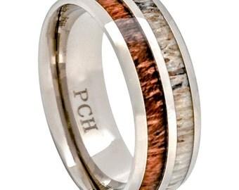 Deer Antler and Koa Wood Ring Titanium Mens Wedding Band Comfort Fit