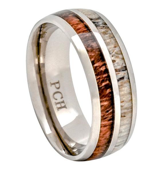 Deer Antler and Koa Wood Ring Titanium Mens Wedding Band
