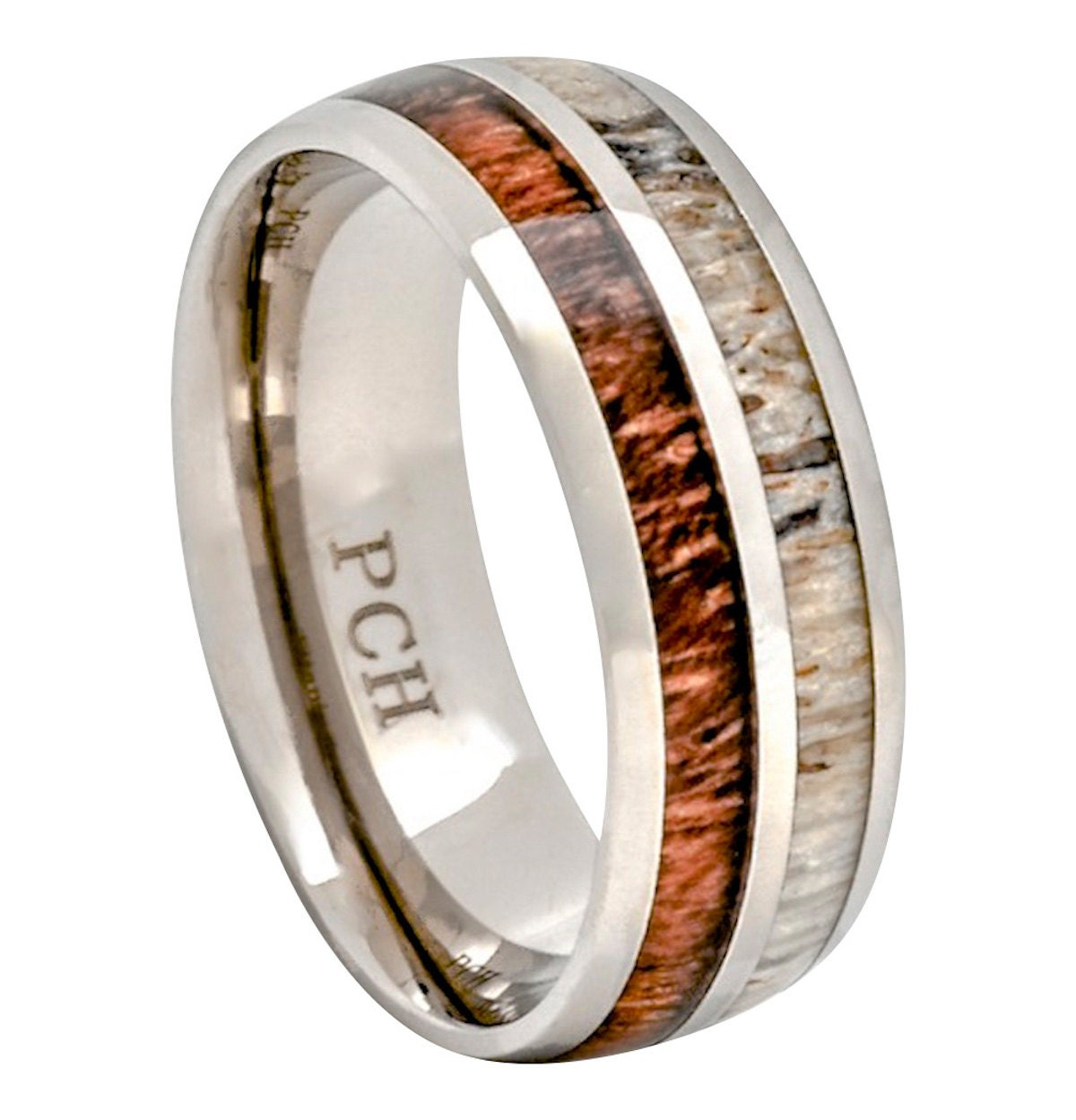 deer ring deer wedding bands Deer Antler and Koa Wood Ring Titanium Mens Wedding Band Comfort Fit