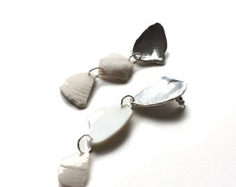 Panama Earrings // Sterling Silver and Shell Statement Earrings
