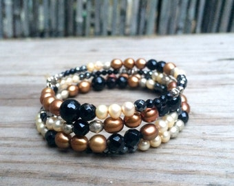 Black & Gold Pearl and Gemstone Wrap Bracelet