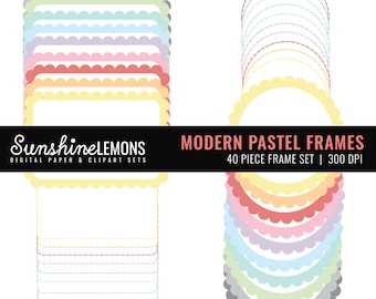 Modern Digital Frames Pastels - Set of 40 - COMMERCIAL USE Read Terms Below