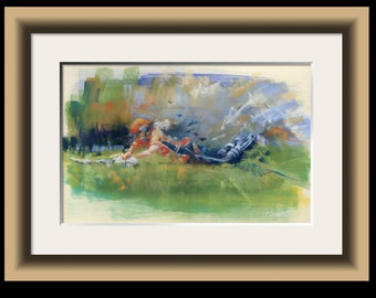 Just In! - cricket fine art limited edition print, cricket print, cricket art, cricket gift, womens cricket, gift for cricketer, sports art