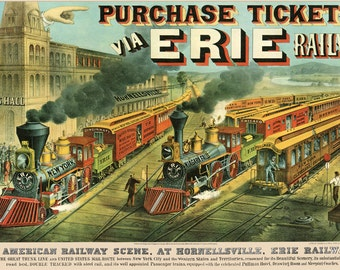 Currier and Ives: Reproductions -  Views of 19th Century America - American Railway Scenes - Erie Railway, 1874. Fine Art Print.