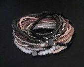 VDAY Sale Teeny Steel Rose Heart Bracelet Stack