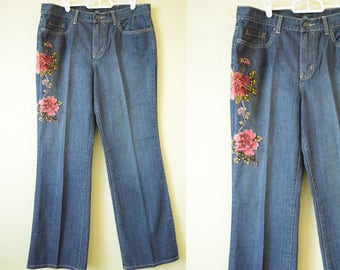 Vintage  1990's Patch Jeans | Velvet Burgundy Rose Patch | Cotton Jeans